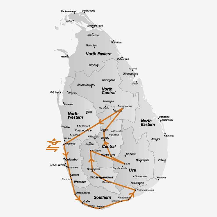 Dit is de route van je Sri Lanka rondreis